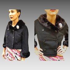 LUSH MINK Fur: Vintage 60s Mod Crop Wool Jacket Coat w/RHINESTONE Brooch - 1960s (Small/Medium)