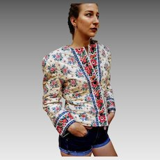 HARD to FIND Ivory Quilted Version: Vtg 80s Vera Bradley RETIRED Signed Jacket Coat - 1980s (Small/Medium)
