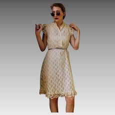 Vintage Angelic 70s Victorian Lace boho peasant festival sun Dress (AND BELT) - 1970s