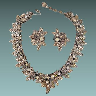 Signed Vintage 50s DeMario NY SUPERSPARKLY Rhinestone demi parure Necklace/Earrings - 1950s