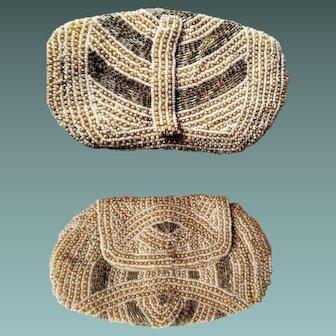 ART DECO vintage 20s/30s BEADED Finger/hand Loop Clutch Purse Bag - 1920s/1930s