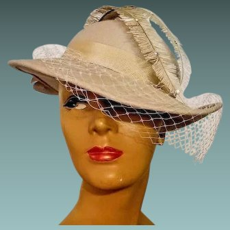 "ULTIMATE 40s FILM NOIR Vintage ""Doeskin Felt"" Feather & Rhinestones Wool fedora Hat - 1940s"