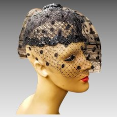 "***** VINTAGE SALE ****** Rare, Exotic 40s Film Noir vintage ""Black Widow"" Sequin & Netting Veil formal cocktail Hat - 1940s"
