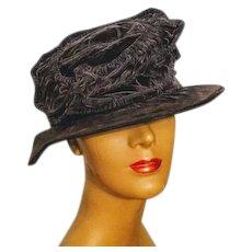 9cb965be87bd7 Recently Sold on Ruby Lane. SOLD. SO ELIZA DOOLITTLE! Antique Edwardian  1910s-1920s floppy cloche vintage Velvet Hat