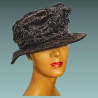 SO ELIZA DOOLITTLE! Antique Edwardian 1910s-1920s floppy cloche vintage Velvet Hat