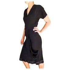 EXQUISITE 40s Vintage black Crepe Draped cocktail film noir Little Black Dress - 1940s (Extra Small)