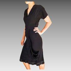 OMG STOP STARING! Vintage 40s Blk Crepe Draped cocktail film noir Little Black Dress - 1940s (Extra Small)