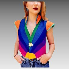1 of A KIND Pricey Vintage 1980s RAINBOW denim Space Age Crop Top Jacket Vest - 1980s (Extra Small/Small)