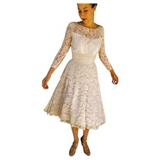 PRISTINE True Vintage 50s White LACE Chiffon-waist Prom Wedding Party Dress- 1950s (Extra Small)