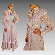 Rare LAVENDER! Vintage 70s GUNNE SAX Prairie Victorian Maxi Dress - 1970s (Extra Small)