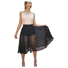 1 of a KIND Vintage 40s Black Lace ROCKABILLY Swing Pin-Up Midi Skirt - 1940s (Extra Small)
