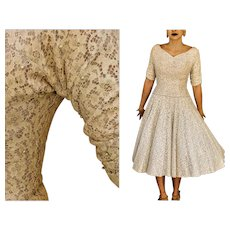 ****** VINTAGE SALE ******* Stunning 50s ROCKABILLY SWING Ivory/Lavender Lace Dress - 1950s (Extra Small)