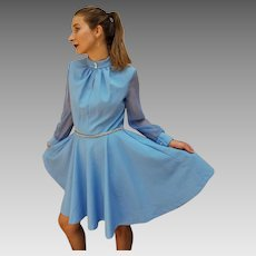 Vintage 70s Perfect MINI length Baby Blue Poly/Chiffon Dress - 1970s RHINESTONE BELT!