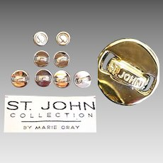 Authentic~ Lot of 8 Vintage ST JOHN COLLECTION Logo Goldtone Buttons