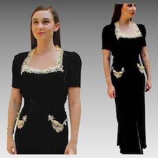 Old Hollywood! Vintage 30s ART NOUVEAU Black Velvet/BATTENBURG Lace Long Gown Dress - 1930s (Extra Small)