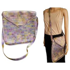 Vintage 70s Made in ITALY large Straw MESSENGER BAG Purse - 1970s Italian MINT COND