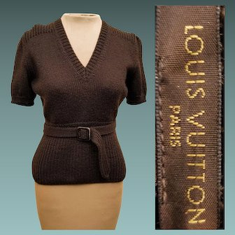 VINTAGE LOUIS VUITTON 80s Cable Knit Virgin Wool/Mohair short sleeve Sweater Top - 1980s (Extra Small/Small)