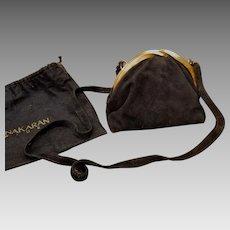 Vintage DONNA KARAN New York 80s Black Suede cocktail clutch purse/shoulder bag - 1980s ITALY