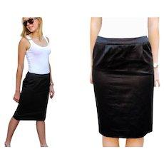 "Vintage YVES SAINT LAURENT 80s ""Rive Gauche"" Black Shiny Cotton Black Skirt - 1980s (Small)"