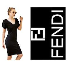 $1900 Vintage FENDI 90s Black Cocktail LBD Dress - 1990s Rare Origami Sleeves!