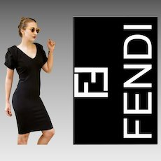 $1900 Vintage FENDI 90s Black Cocktail LBD Dress - 1990s Rare Origami Sleeves!