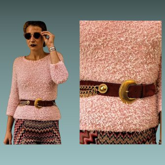 Vintage ESCADA 80s Fuzzy Pink Sweater Top & ESCADA 1980S LEATHER Chain Belt - (Extra Small)