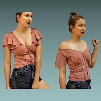 """Vintage JUST CAVALLI 90s sexy Cut-Outs """"Off Shoulder-Or Not"""" festival flirty Blouse Top - 1990s (Extra Small)"""