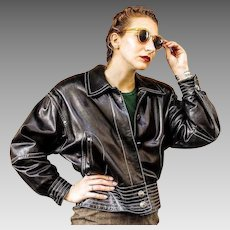 Vintage 80s LAUREL/ESCADA black LEATHER & Silver Grommet Moto Jacket Coat - 1980s (Extra Small/Small)