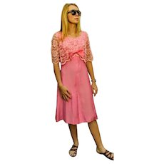Vintage EMMA DOMB 60s MOD Cotton Candy Pink & Lace cocktail Dress - 1960s (Small)