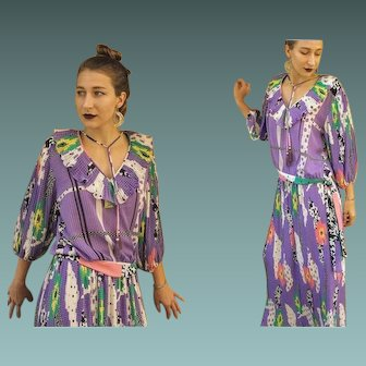 Vintage 80s DIANE FREIS boho gypsy Blouse Top 2PC DRESS - Rare 1980s Maxi Skirt Version (Medium/Large)