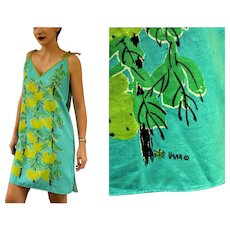 "Vintage 60s VERA NEUMANN Signed ""Fruit Tree"" Mod sheath mini Dress - 1960s (Small/Medium)"