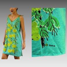 "Vintage 60s VERA NEUMANN Signed ""Fruit Tree"" Mod sheath mini Dress - 1960s (Small/Medium)"