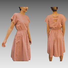 Iconic, Rare Vintage PIERRE CARDIN late 1970s/early 1980s Mauve linen jumper Dress - (Extra Small/Small)