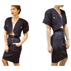 WOW!!! Vintage 80s CALVIN KLEIN for Bergdorf Goodman 2pc Denim jeans High Waist Skirt & Bolero Crop Jacket - 1980s (Extra Small)
