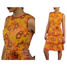 RARE VINTAGE WII era 40s Floral Chiffon Tiered sun party Swing Dancing Dress - 1940s (Extra Small/Small)