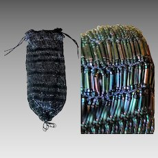 BEST EVER Vintage 20s Art DECO Flapper beaded crochet Evening Bag Reticule Purse - 1920s