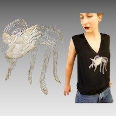 """VINTAGE ANTIQUE 20s FLAPPER Black Rayon """"Bird Motif"""" Art Deco blouse tank top - 1920s (One Size)"""