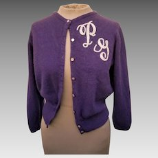 OLDER Vintage 40s/50s PURPLE CASHMERE bobbysoxer Monogrammed Cardigan Sweater - 1940s/1950s (Extra Small)