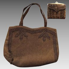 Vintage 40s/1940s Chocolate CORDE WWII Bag Purse + ROLFS Alligator Crocodile Wallet
