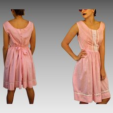 ULTIMATE 1960s BABYDOLL Vintage 60s Pink GINGHAM Cotton Pinafore Sun Dress (Large/Extra Large)