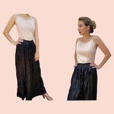 ANTIQUE Vintage 1900s TRUE EDWARDIAN Long Black Satin maxi Skirt (Medium/Large)
