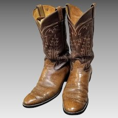 "Vintage 70s Mens TONY LAMA of TEXAS Iconic ""Elephant Print"" Leather Cowboy Boots - 1970s (size 12 D)"