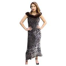 $1600+  Vintage 90s BADGLEY MISCHKA Burnout Velvet/MINK FUR Gown Dress - 1990s (Small)