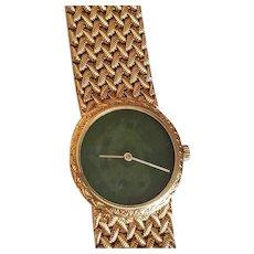 WOW! $9500 Vintage 1970s PIAGET 18kt Gold Mesh/Green Jade Ladies Wrist Watch 57.6g