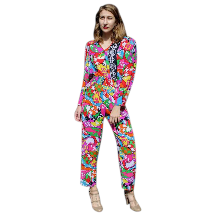 Unused, Unsold DEADSTOCK: Vintage 80s DIANE FREIS Bold Abstract Pantsuit  Jumper - 1980s (Small)