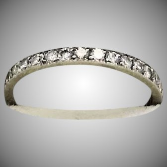 Vintage 20s/30s ART DECO 14kt White Gold & DIAMOND Eternity Band Ring (Size 4.75-5)
