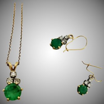Vintage 14KT Yellow Gold DIAMOND & EMERALD Necklace & Pierced Earrings Set