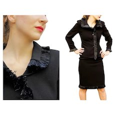 """70s Couture BILL BLASS Black Wool & Plastic """"Grass"""" Fringe Skirt Jacket Suit - 1970s (Extra Small)"""