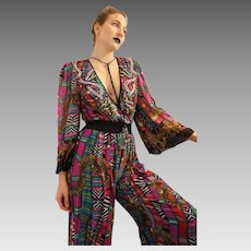 Low V-Neck!  DEADSTOCK Vintage 80s DIANE FREIS Art Nouveau Silk Pantsuit Jumpsuit - 1980s (Extra Small/Small)