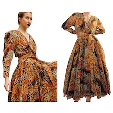 Unused DEADSTOCK Vintage 80s DIANE FREIS Silk Animal Print Formal maxi Dress - 1980s (Small)